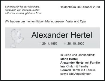 Anzeige Alexander Hertel