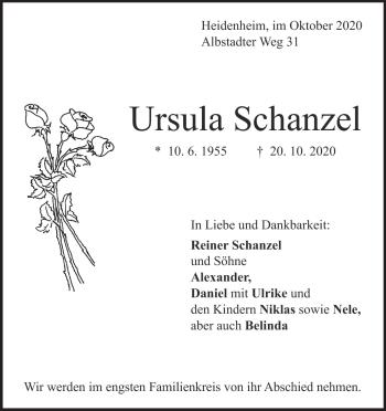 Anzeige Ursula Schanzel