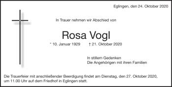 Anzeige Rosa Vogl
