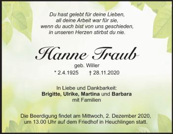 Anzeige Hanne Traub