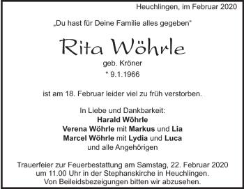 Anzeige Rita Wöhrle