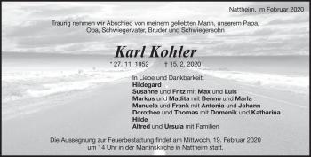 Anzeige Karl Kohler
