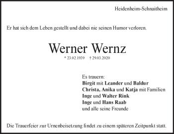 Anzeige Werner Wernz
