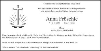 Anzeige Anna Fröschle