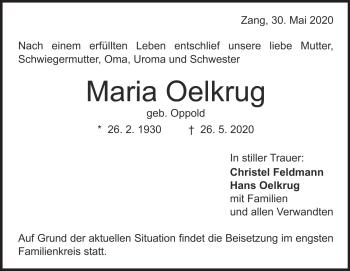 Anzeige Maria Oelkrug
