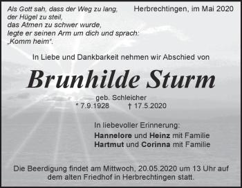 Anzeige Brunhilde Sturm