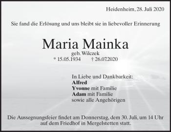 Anzeige Maria Mainka