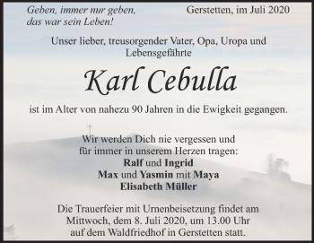 Anzeige Karl Cebulla