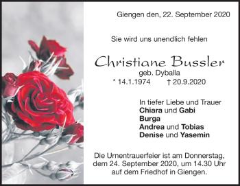 Anzeige Christiane Bussler