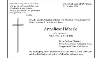 Anzeige Anneliese Häberle