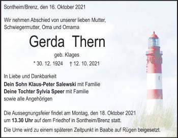 Anzeige Gerda Thern