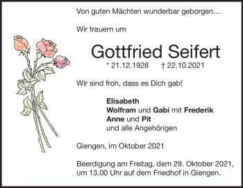 Anzeige Gottfried Seifert