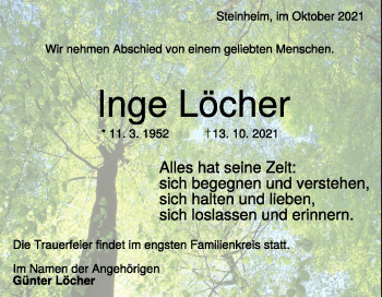 Anzeige Inge Löcher