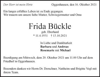 Anzeige Frida Bückle