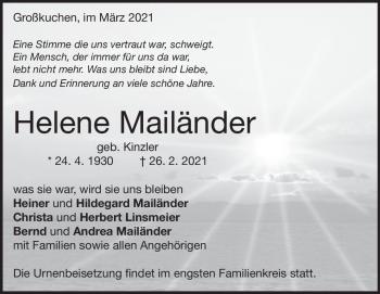 Anzeige Helene Mailänder