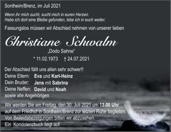 Anzeige Christiane Schwalm