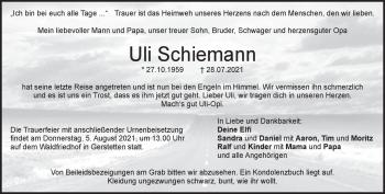 Anzeige Uli Schiemann