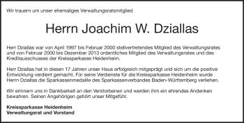 Anzeige Joachim Dziallas