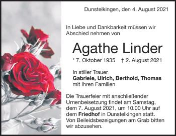 Anzeige Agathe Linder