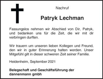 Anzeige Patryk Lechman