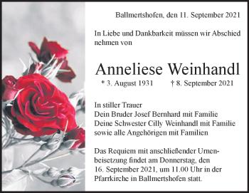 Anzeige Anneliese  Weinhandl