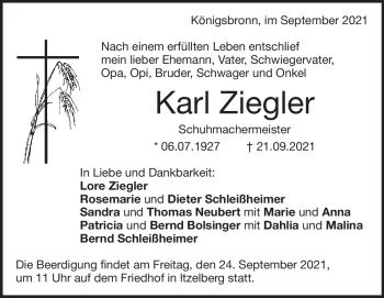 Anzeige Karl Ziegler