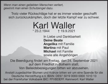 Anzeige Karl Waller
